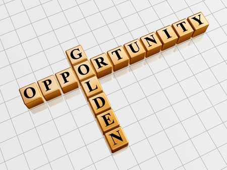 creative potential: 3d gold cubes with black letters like crossword with text - golden opportunity Stock Photo