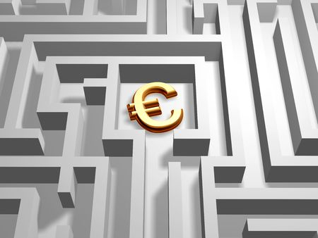 3d golden euro symbol in the centre of labyrinth photo
