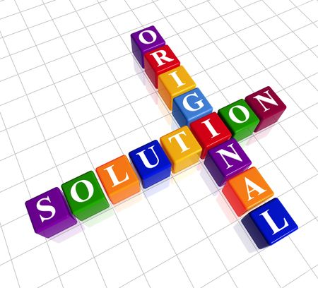 creativeness: 3d colour cubes with white letters like crossword with text - original solution