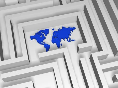 lost world: 3d blue world symbol in the centre of labyrinth Stock Photo