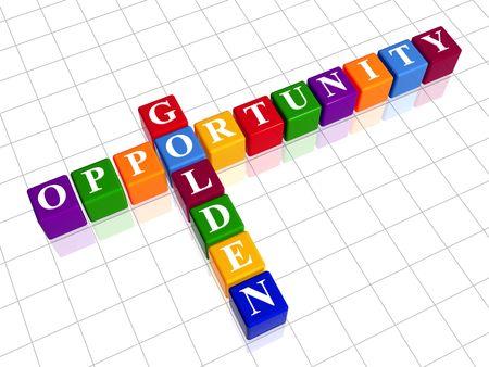 potentiality: cubos de color 3D con letras blancas como crucigramas con oportunidad de texto - oro  Foto de archivo