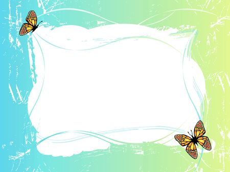 blue green frame with butterflies, background with floral ornaments photo