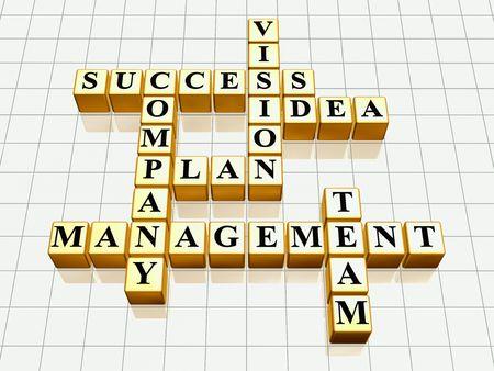 financial leadership: cubos de oro 3D como crucigrama - �xito; plan; idea; compa��a; visi�n; administraci�n; equipo
