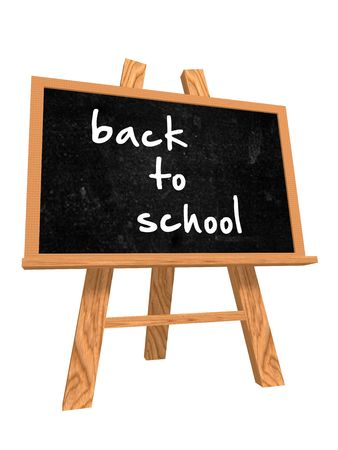 high school girl: 3d isolated blackboard with easel with text - back to school Stock Photo