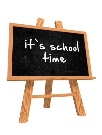 school time: 3d isolated blackboard with easel with text - its school time Stock Photo