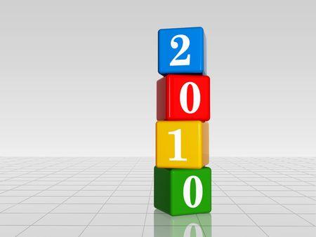 turns of the year: 3d cubos de colores con figuras blancas con el texto de 2010 con la reflexi�n