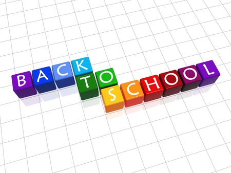 high school girl: 3d colour cubes with white letters with text - back to school Stock Photo
