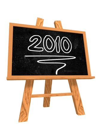 turns of the year: 3d aislado con pizarra de caballete con texto - 2010 Foto de archivo
