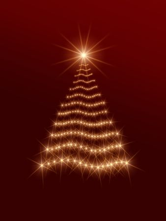 festiveness: shining christmas tree drawn by golden lights over red background