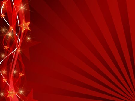 red christmas background with stars, bands and rays Stock Photo - 5858276
