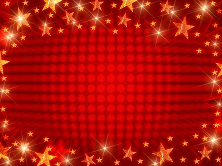 festiveness: red christmas background with stars, lights and dots