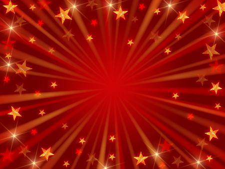 hilo rojo: fondo rojo de Navidad con estrellas, luces y rayos