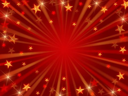 red christmas background with stars, lights and rays photo
