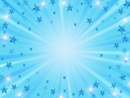 blue christmas background with stars, lights and rays Stock Photo - 5858285