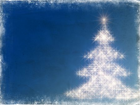 festiveness: shining christmas tree drawn by white lights over blue background with frame