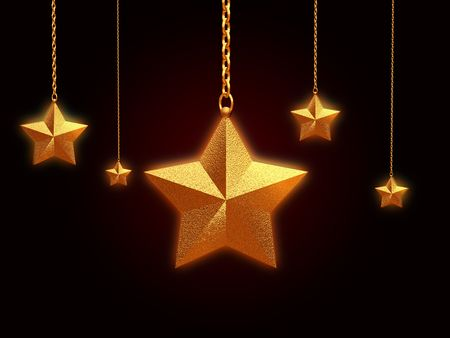 3d golden stars with chains over black background Stock Photo - 5858286
