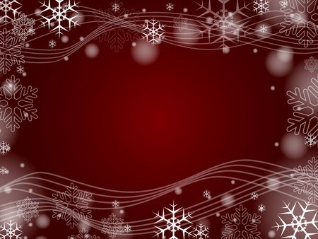 red christmas background with snowflakes and bands Stock Photo