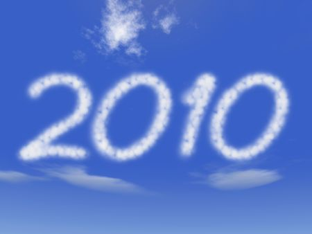 festiveness: clouds like ciphers makes 2010 over blue sky