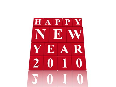 3d red cubes with letters makes happy new year 2010, over white background photo