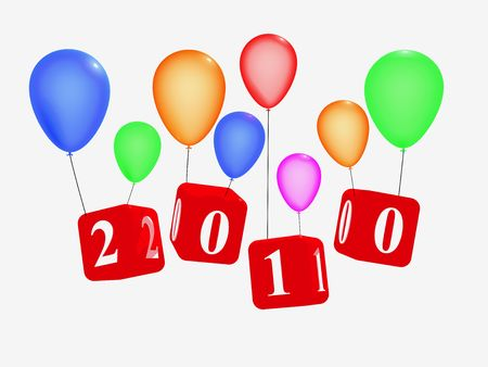the turn of the year: 3d red cubes with figures makes 2010 with colour balloons, over white background