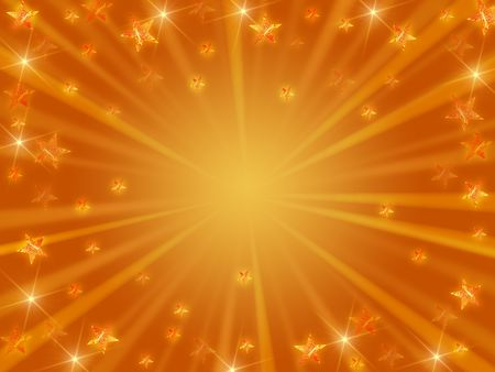 golden christmas background with stars, lights and rays Stock Photo - 5943046