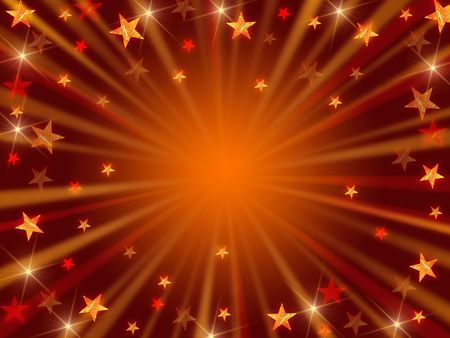 golden and brown christmas background with stars, lights and rays photo
