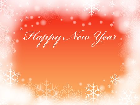 festiveness: orange background with snowflakes and text - Happy New Year