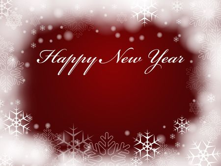festiveness: red background with snowflakes and text - Happy New Year