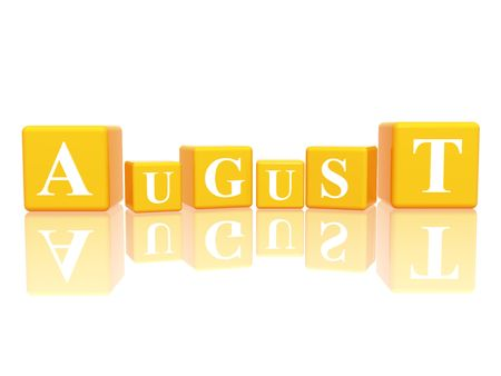 monthly calendar: 3d yellow cubes with letters makes august