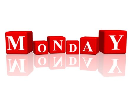 first day: 3d red cubes with letters makes monday Stock Photo
