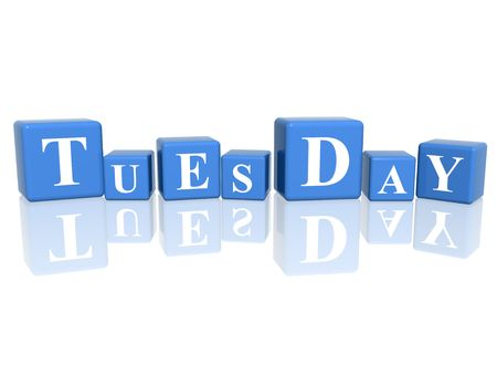 weekday: 3d blue cubes with letters makes tuesday Stock Photo