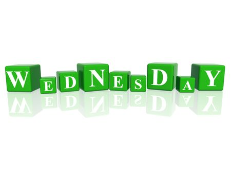 3d green cubes with letters makes wednesday Stock Photo - 6074274