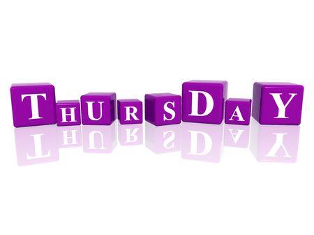 cipher: 3d violet cubes with letters makes thursday