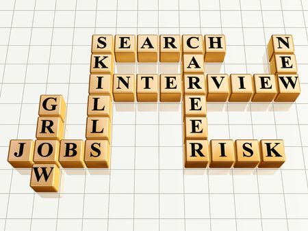 3d golden cubes like crossword - jobs, interview, career, search, skills, grow, new, risk photo