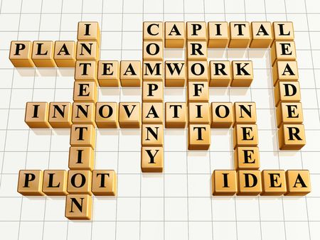 intention: 3d golden cubes like crossword - teamwork, innovation, leader, idea, plan, plot, company, capital, profit, intention, need Stock Photo