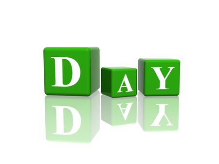 weekday: 3d green cubes with letters makes day
