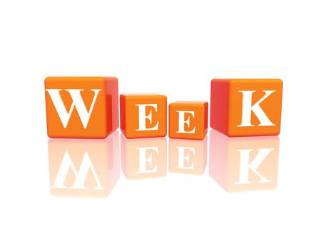 yearly: 3d orange cubes with letters makes week