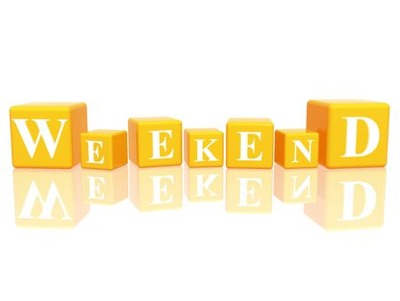 repose: 3d yellow cubes with letters makes weekend Stock Photo