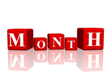 yearly: 3d red cubes with letters makes month Stock Photo