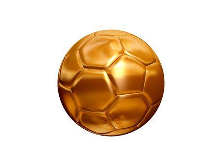 futball: isolated 3d model of golden soccer ball  on white background