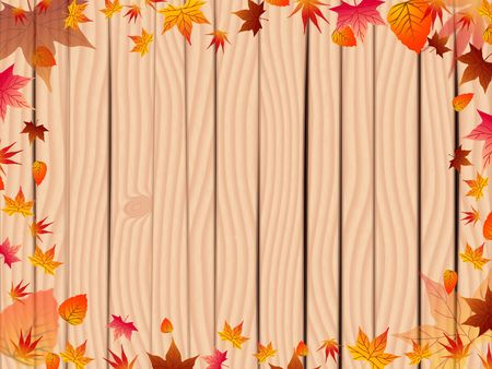 Abstract background with autumn leaves and board fence photo