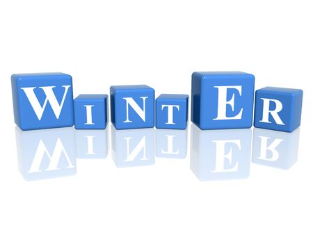 winterly: 3d blue cubes with letters makes winter