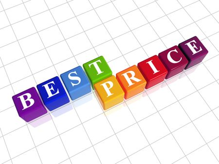 fare: 3d color cubes with white letters with text - best price