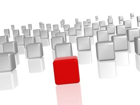 group of 3d white-grey cubes with one red in the middle Stock Photo - 7909590