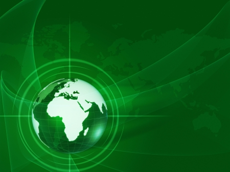 wire globe: green world globe and map over lights, rays with net like background Stock Photo