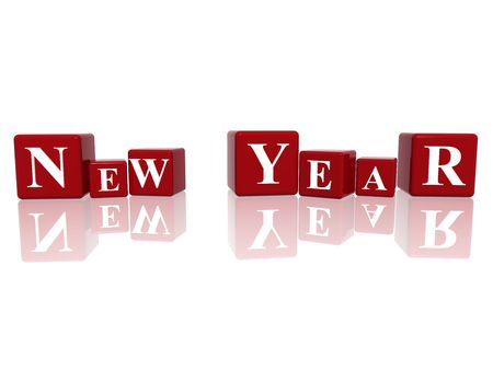 3d red cubes with letters makes New Year photo