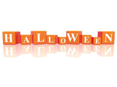 jest: 3d orange cubes with letters makes Halloween Stock Photo