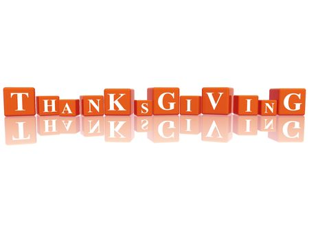 yearly: 3d orange cubes with letters makes Thanksgiving