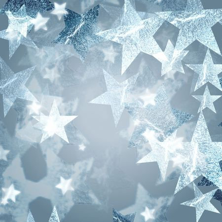 new year's eve: silver stars over grey background with feather center