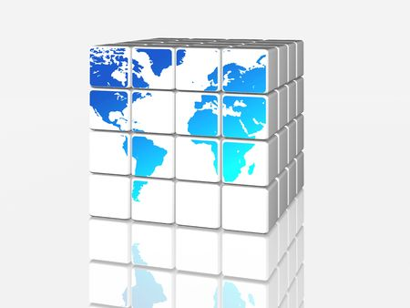 3d white cubes with blue world map photo